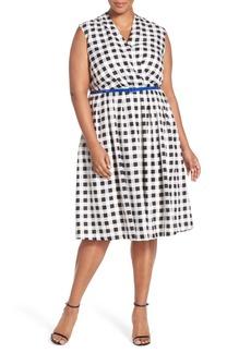 Ellen Tracy Belted Gingham Print Surplice Fit & Flare Dress (Plus Size)