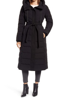 Ellen Tracy Belted Hooded Quilted Coat
