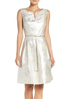Ellen Tracy Belted Metallic Jacquard Fit & Flare Dress