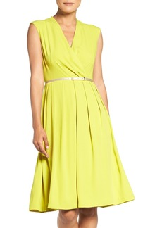 Ellen Tracy Belted Woven Fit & Flare Dress (Regular & Petite)