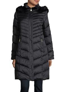 Ellen Tracy Blue Fox Fur-Trimmed Down Puffer Coat