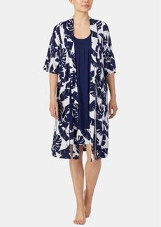 Ellen Tracy Border-Print Chemise Nightgown & Printed Wrap Robe Set