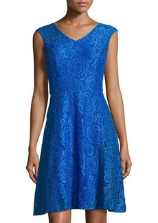 Ellen Tracy Cap-Sleeve Lace Fit-and-Flare Dress
