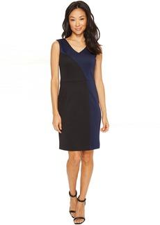 Color Block Dress with V-Neck