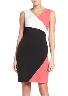 Ellen Tracy Colorblock Luxe Crepe Sheath Dress
