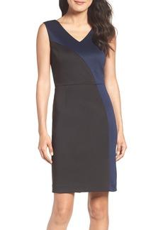 Ellen Tracy Colorblock Scuba Sheath Dress (Regular & Petite)