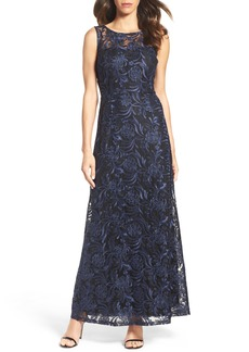 Ellen Tracy Corded Mesh Gown