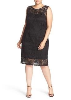 Ellen Tracy Crochet Lace Sheath Dress (Plus Size)