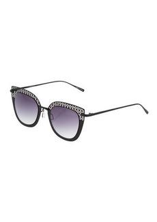 Ellen Tracy Cutout Cat-Eye Metal Gradient Sunglasses