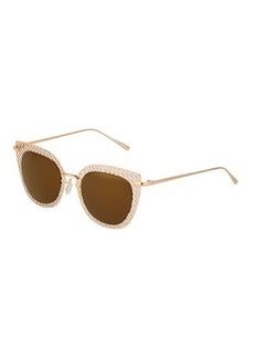 Ellen Tracy Cutout Cat-Eye Metal Sunglasses