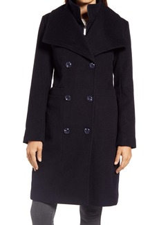 Ellen Tracy Double Breasted Wool Blend Coat with Bib