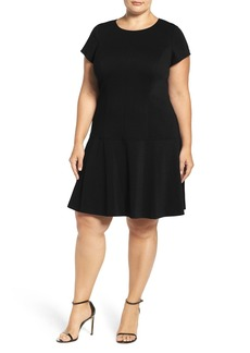 Ellen Tracy Drop Waist Ponte Dress (Plus Size)