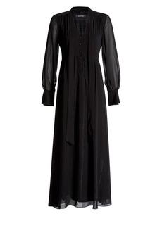 Ellen Tracy Ellen Tracy x Irina Shayk Buttoned Tie-Neck Maxi Dress