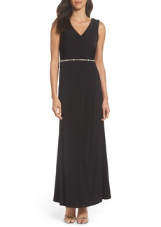 Ellen Tracy Embellished Drape Back Gown