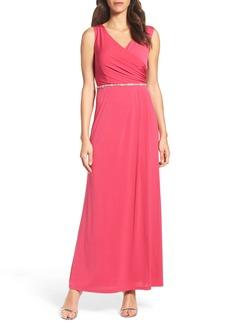 Ellen Tracy Embellished Drape Back Gown