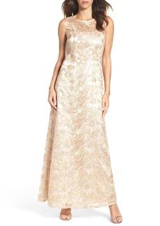 Ellen Tracy Embellished Mesh Gown