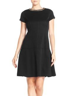 Ellen Tracy Embellished Neck Piqué Drop Waist Dress (Regular & Petite)
