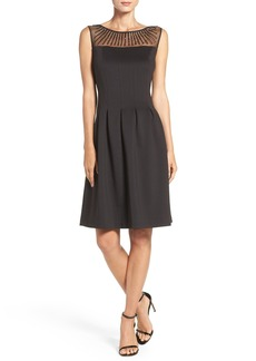 Ellen Tracy Embellished Scuba Fit & Flare Dress (Regular & Petite)