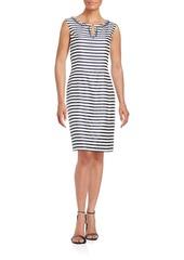 Ellen Tracy Embellished Striped Sheath Dress