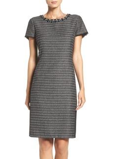 Ellen Tracy Embellished Tweed Shift Dress (Regular & Petite)