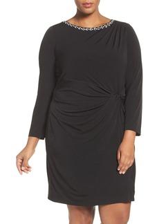 Ellen Tracy Embellished Twist Front Jersey Dress (Plus Size)