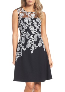Ellen Tracy Embroidered Crepe Fit & Flare Dress