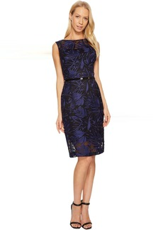 Ellen Tracy Embroidered Midi with Belt