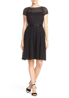 Ellen Tracy Eyelet Lace Fit & Flare Dress