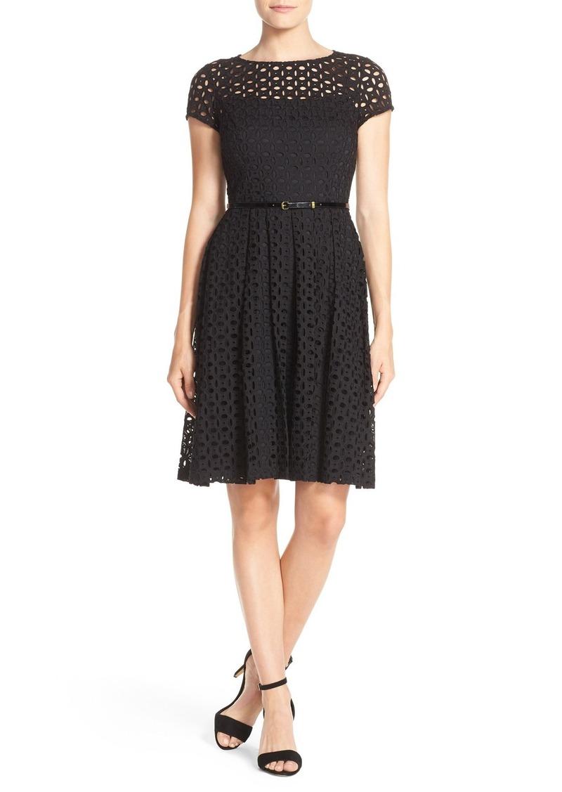 Ellen Tracy Eyelet Lace Fit & Flare Dress