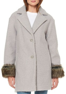 Ellen Tracy Faux Fur Cuffed Coat