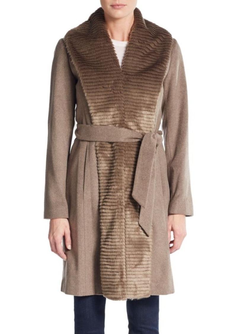 Ellen Tracy Faux Fur-Panel Belted Coat