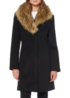 Ellen Tracy Faux Fur Shawl Collar Walker Coat