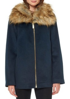 Ellen Tracy Faux Fur Trim Coat