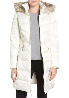 Ellen Tracy Faux Fur Trim Matte Satin Down Coat (Regular & Petite)