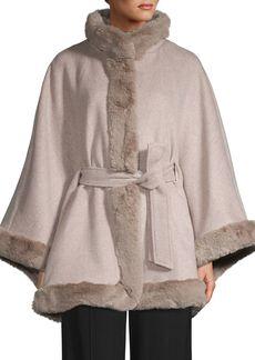 Ellen Tracy Faux Fur-Trim Wool Blend Cape