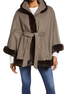 Ellen Tracy Faux Fur Trim Wool Blend Cape