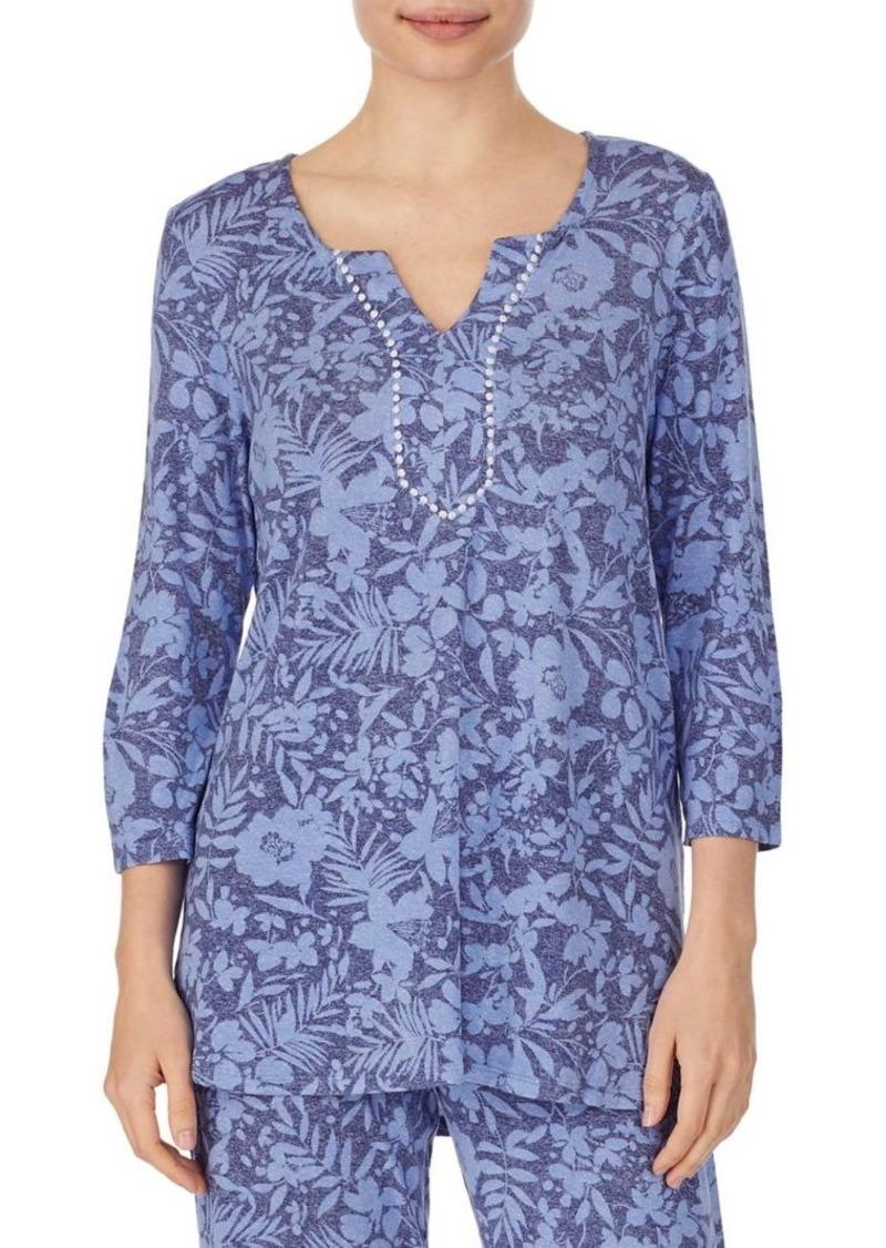 Ellen Tracy Floral Cotton Pajama Top