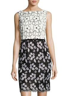 Ellen Tracy Floral-Embroidered Belted Sheath Dress