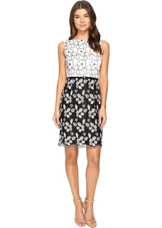Ellen Tracy Floral Embroidered Dress
