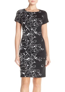 Ellen Tracy Floral Knit Sheath Dress (Regular & Petite)