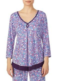 Ellen Tracy Floral Piping-Trim Pajama Top