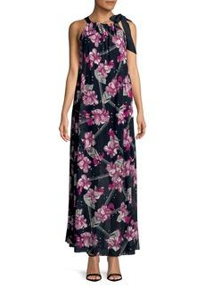 Ellen Tracy Floral Printed Halter Maxi Dress