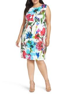 Ellen Tracy Floral Scuba Sheath Dress (Plus Size)
