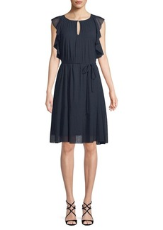 Ellen Tracy Ruffle-Trimmed Knee-Length Dress