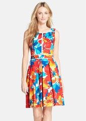 Ellen Tracy Flower Print Stretch Fit & Flare Dress