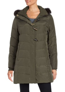 Ellen Tracy Fox Fur-Trimmed Puffer Coat