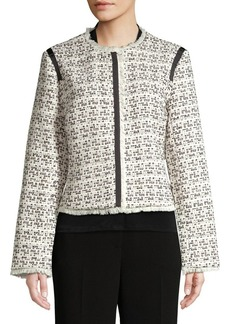 Ellen Tracy Fringed Textured Jacket