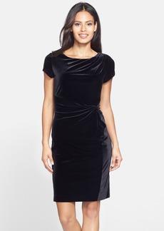 Ellen Tracy Gathered Velvet Sheath Dress (Regular & Petite)