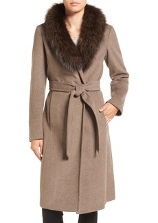 Ellen Tracy Genuine Fox Collar Wool Blend Long Wrap Coat