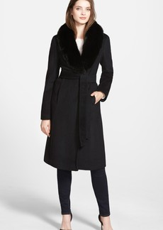 Ellen Tracy Genuine Fox Collar Wool Blend Long Wrap Coat